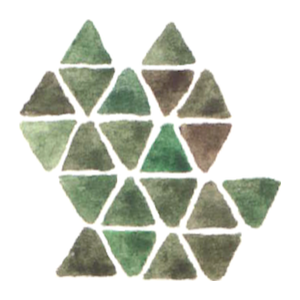The logo of Great Island Arts: a watercolour pattern of triangular shapes in shades of green and brown form a rough map of Great Island.